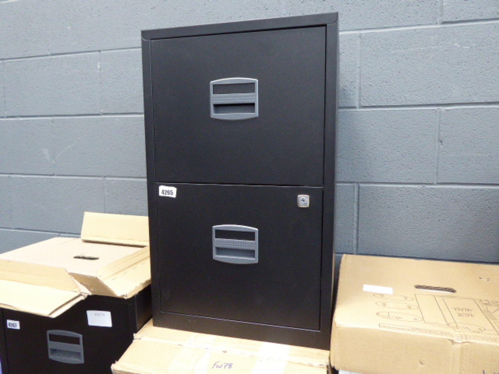 Lot 4265 - 4261 Black 2 drawer metal filing cabinet