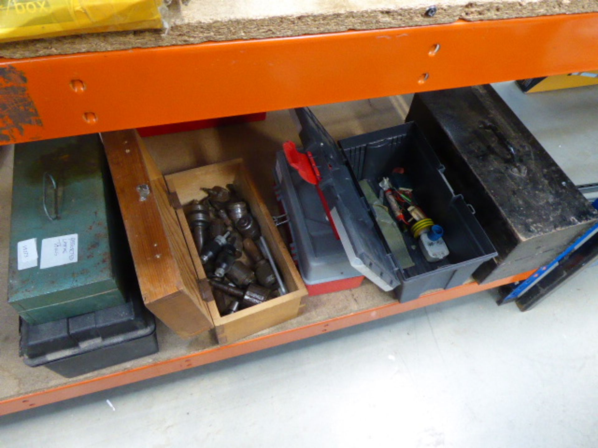 Lot 4523 - 6 small boxes containing chucks, lathe tools, electrical fixings and various other items