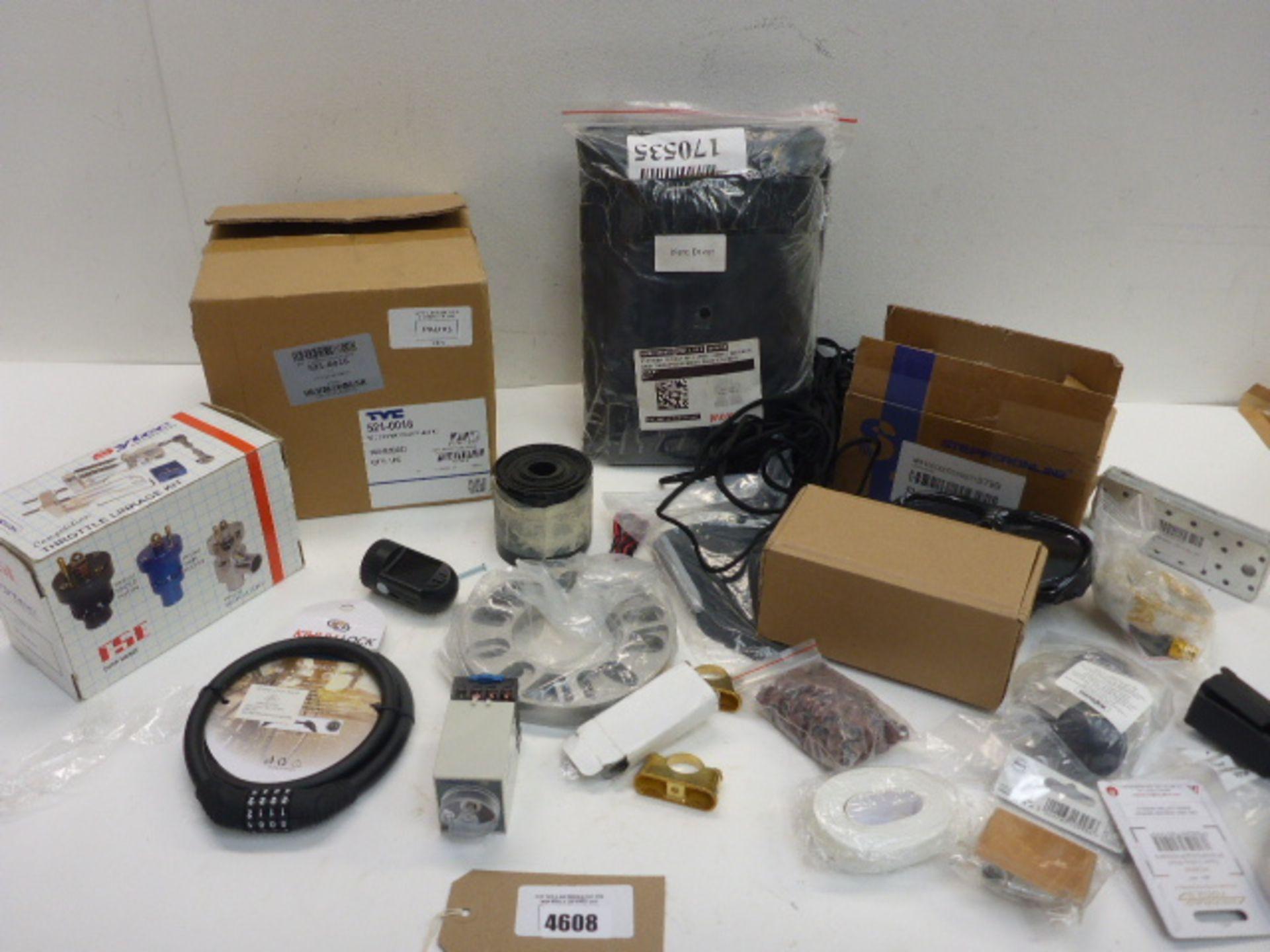 Lot 4608 - Mercedes C class fan & seat covers, bike locks, throttle linkage, dash cam, Stepperonline ballast,