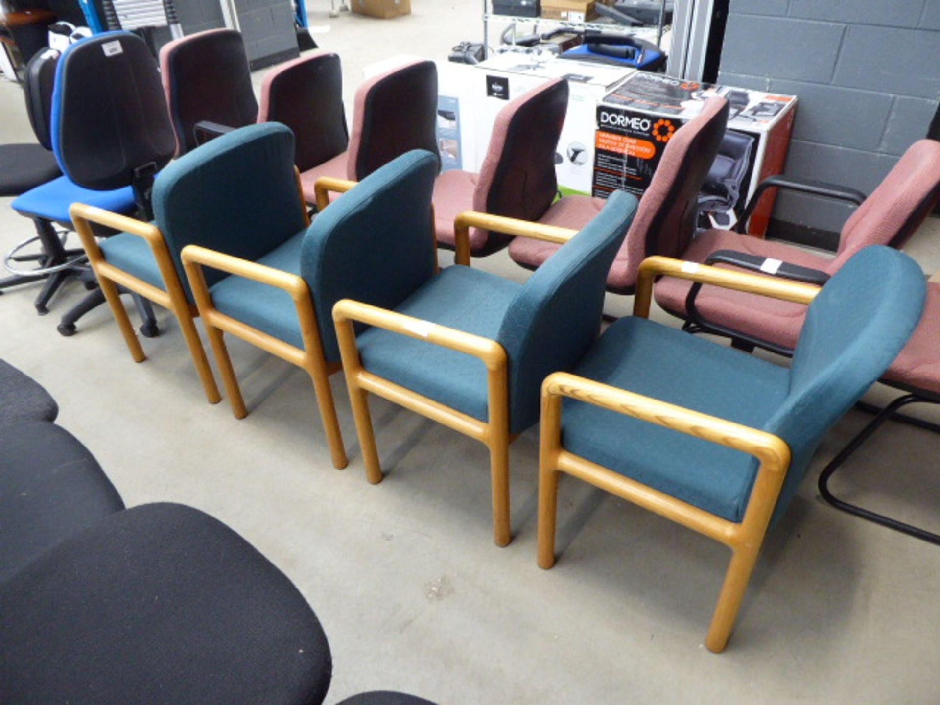 Lot 4254 - 4 green wooden framed chairs