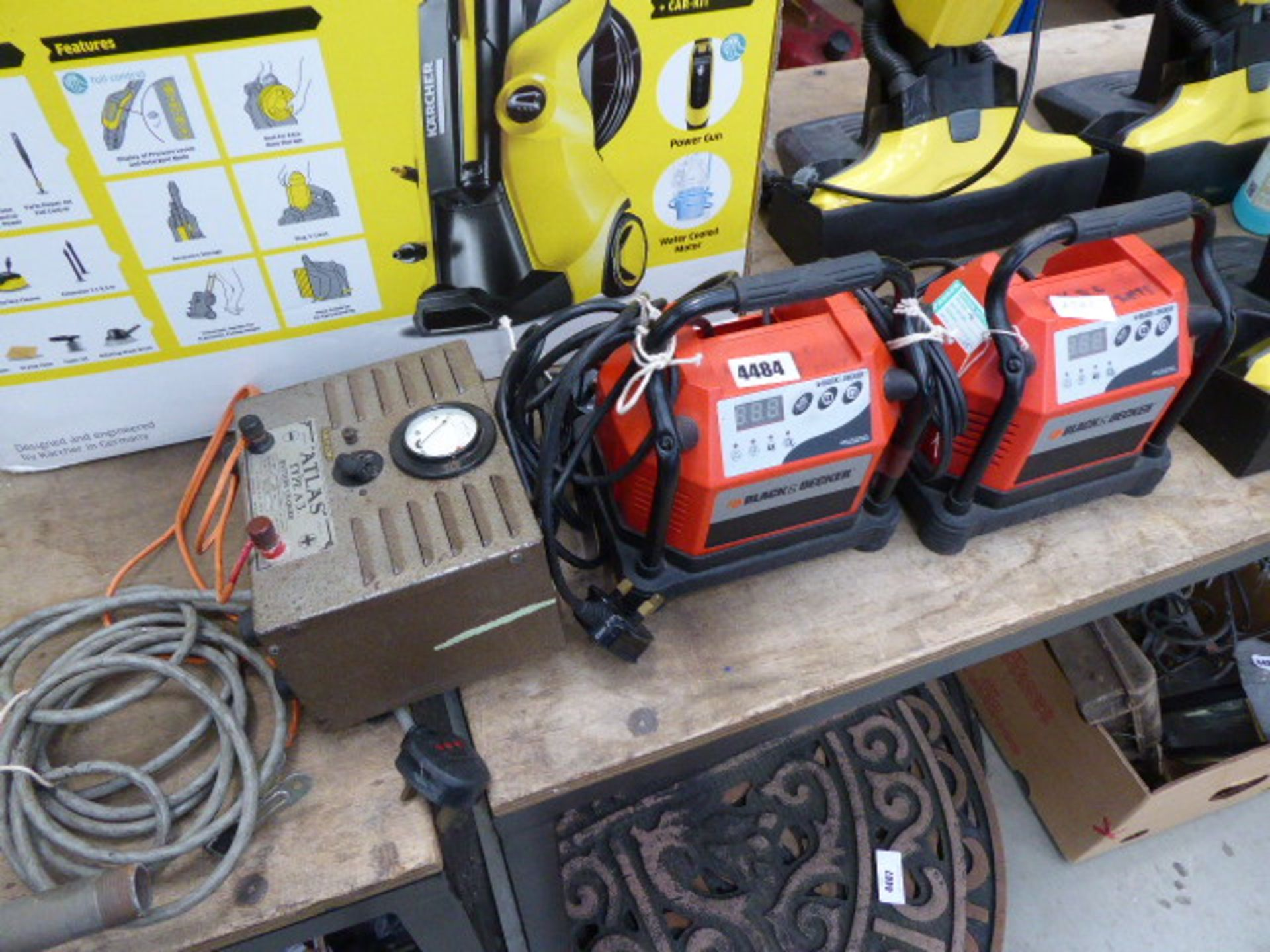 Lot 4484 - 2 Black and Decker chargers and an Atlas battery charger