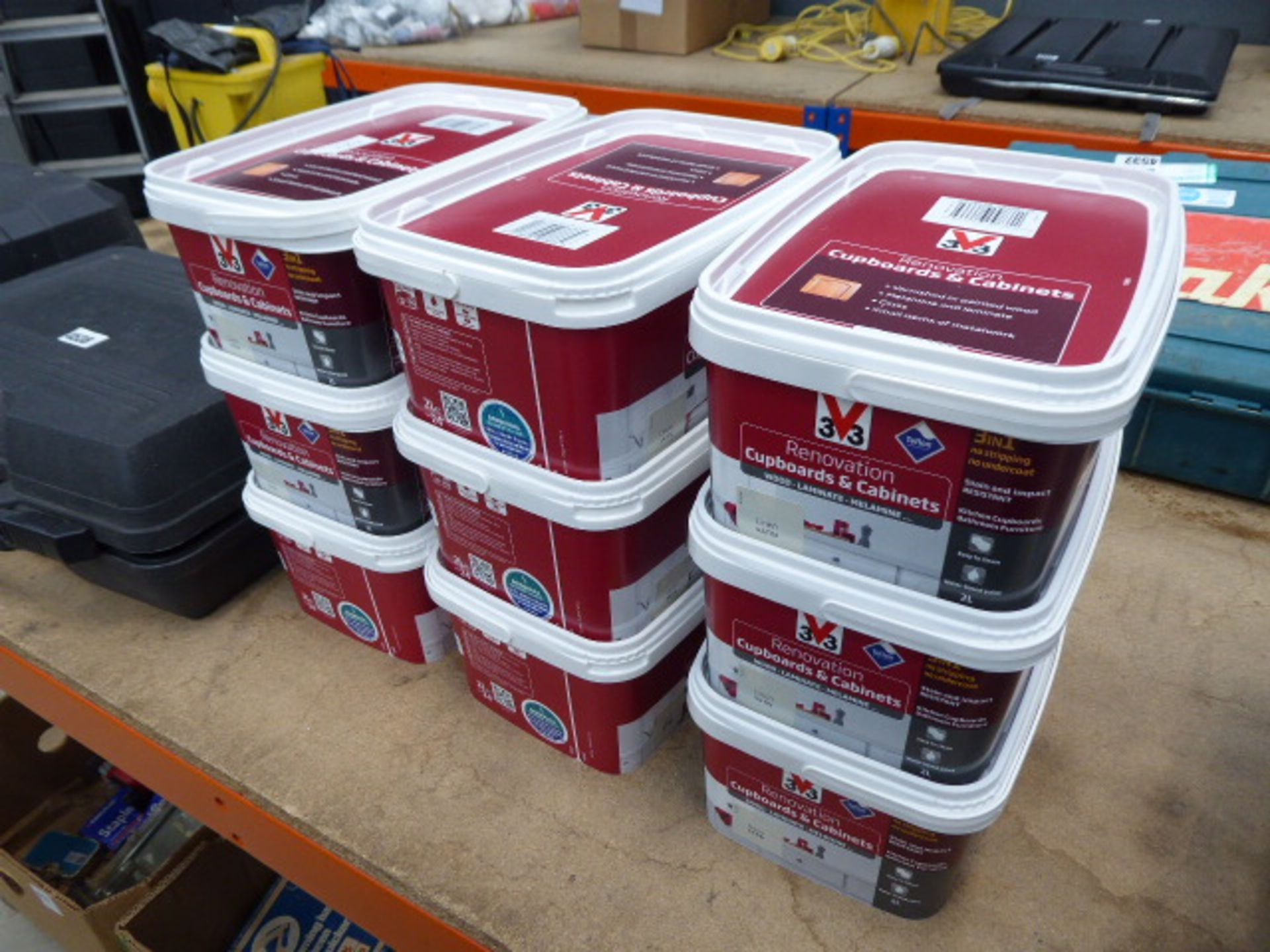 Lot 4537 - 9 tubs of linen satin, cupboard and cabinet paint
