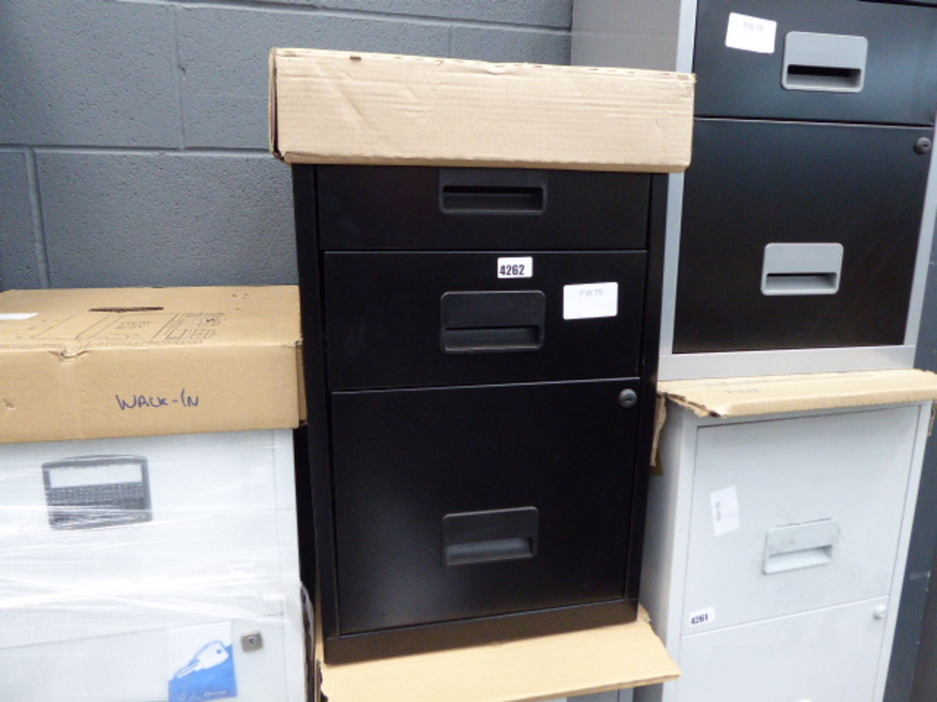 Lot 4262 - Grey 3 drawer metal filing cabinet and black 2 drawer metal filing cabinet