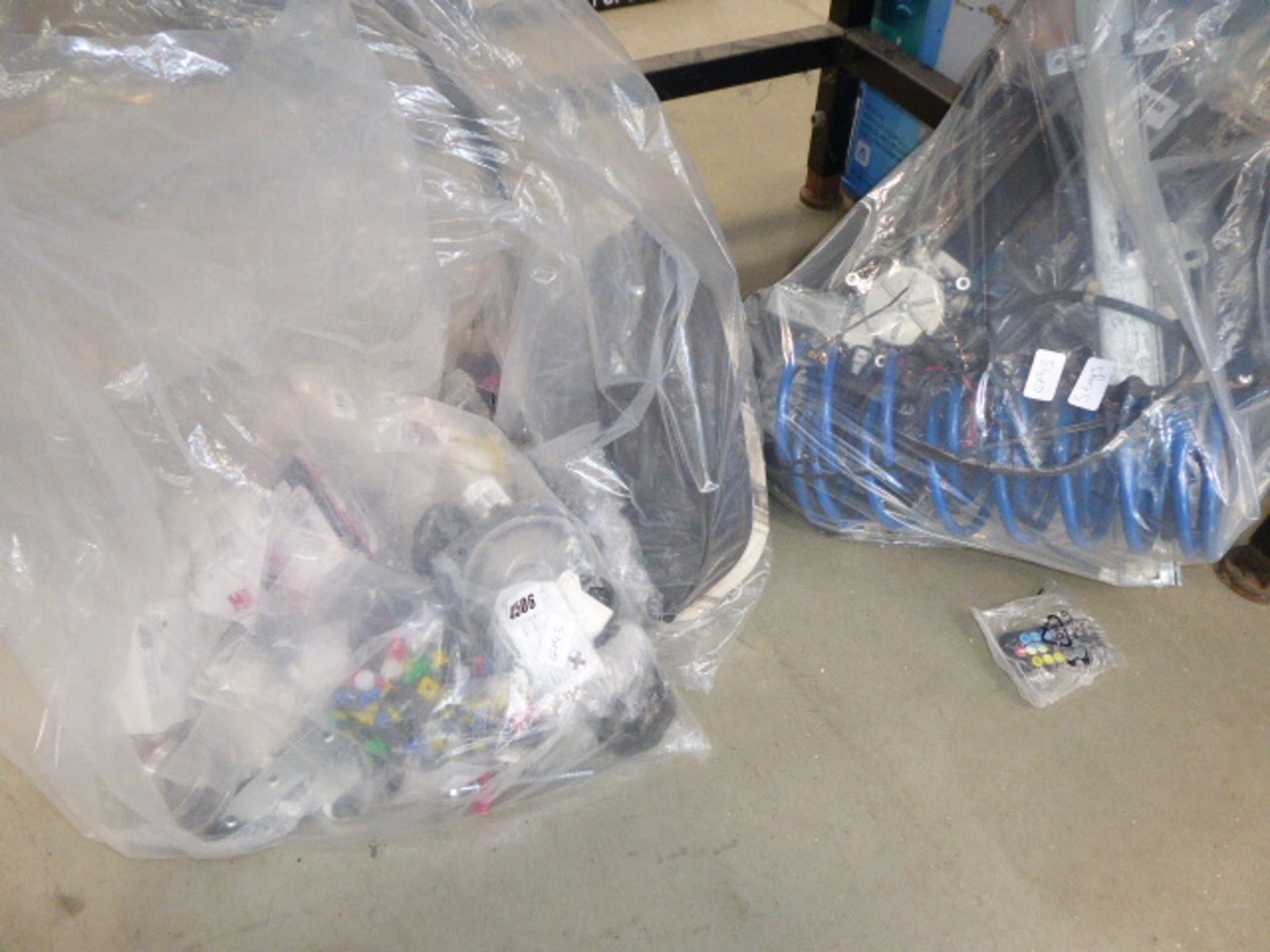 Lot 4506 - 3 bags of car related items including gauges, hoses, winder mechanisms, etc