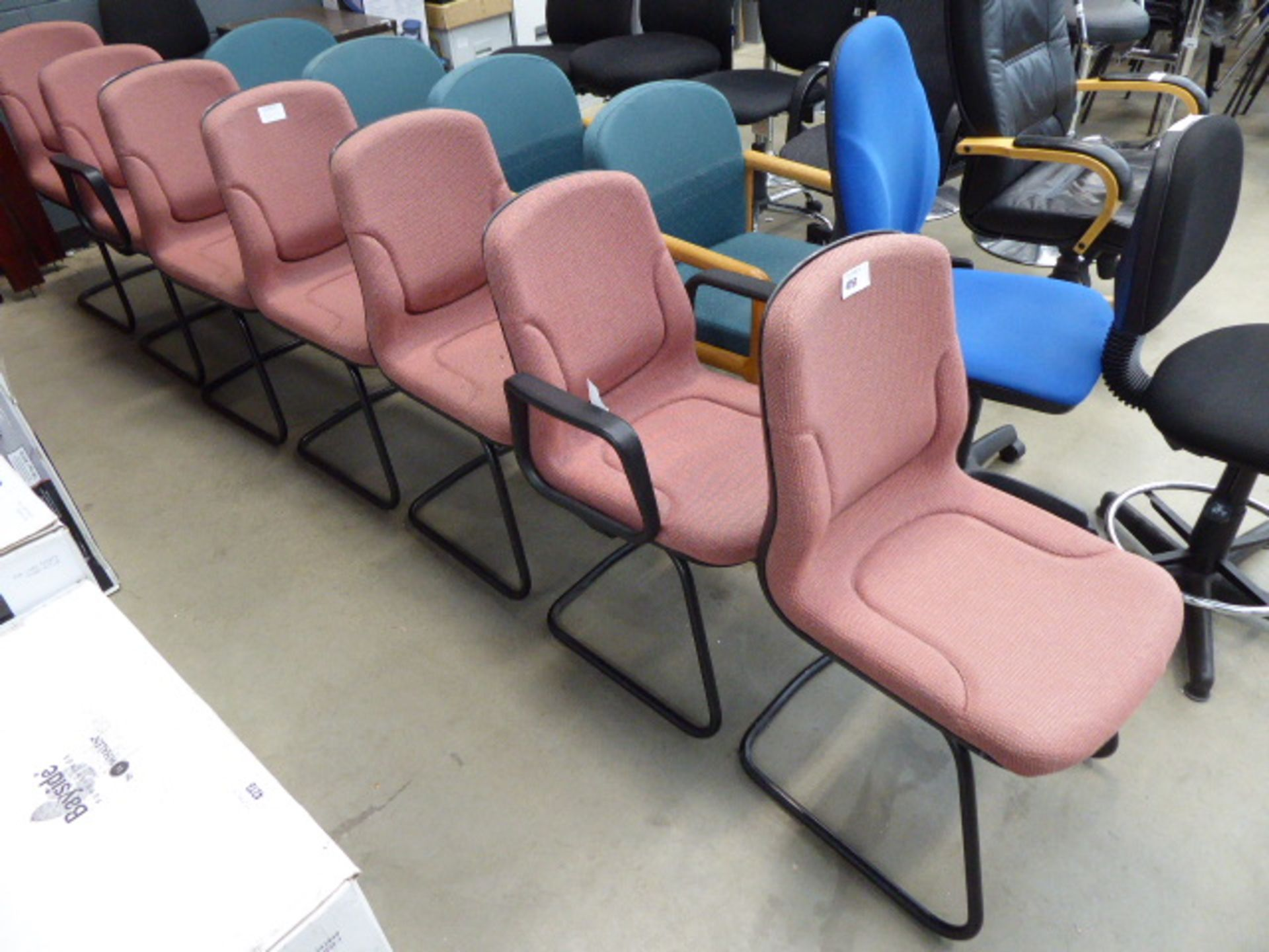 Lot 4257 - 7 pink cloth slide framed chairs