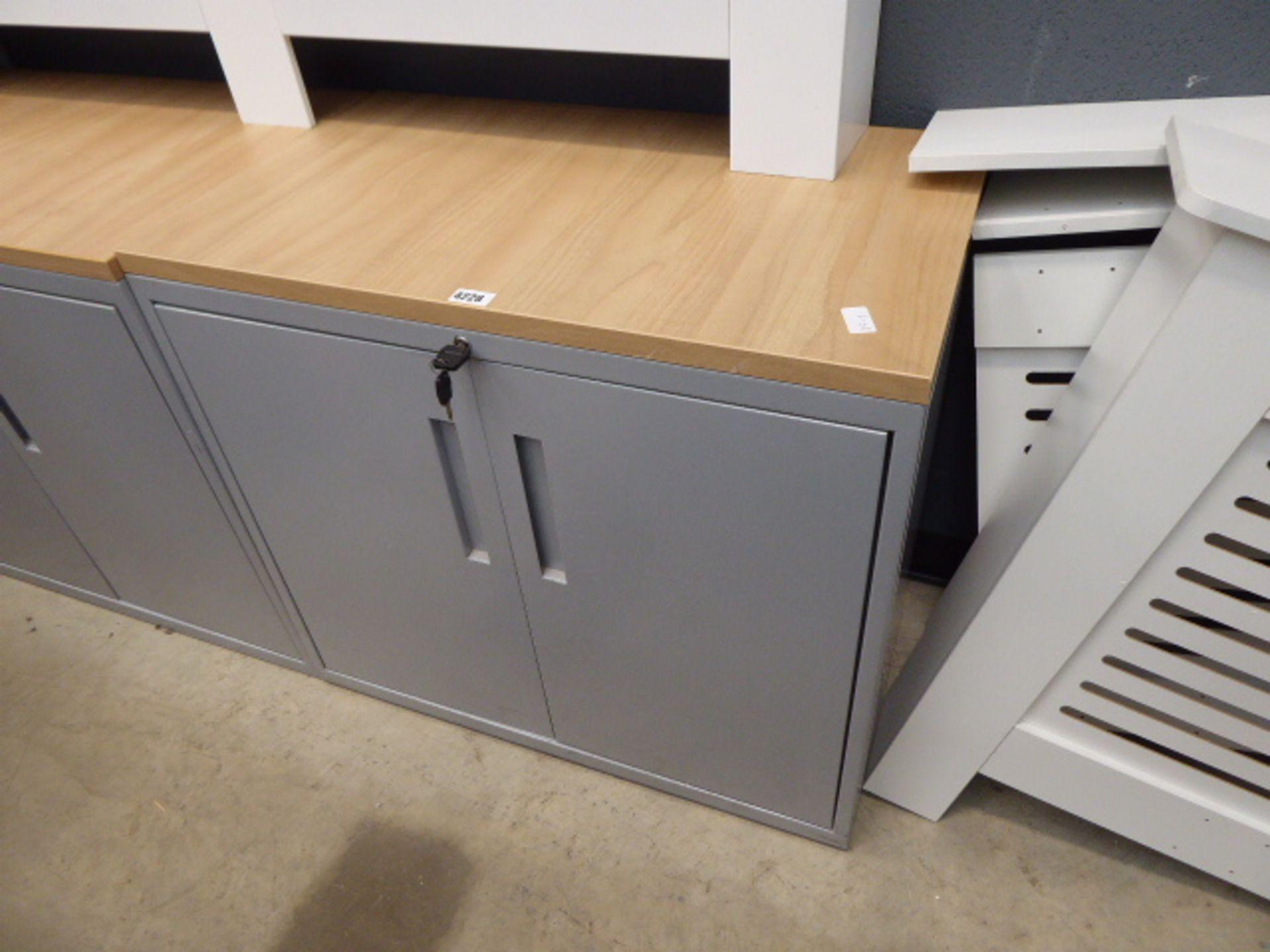 Small grey 2 door cabinet