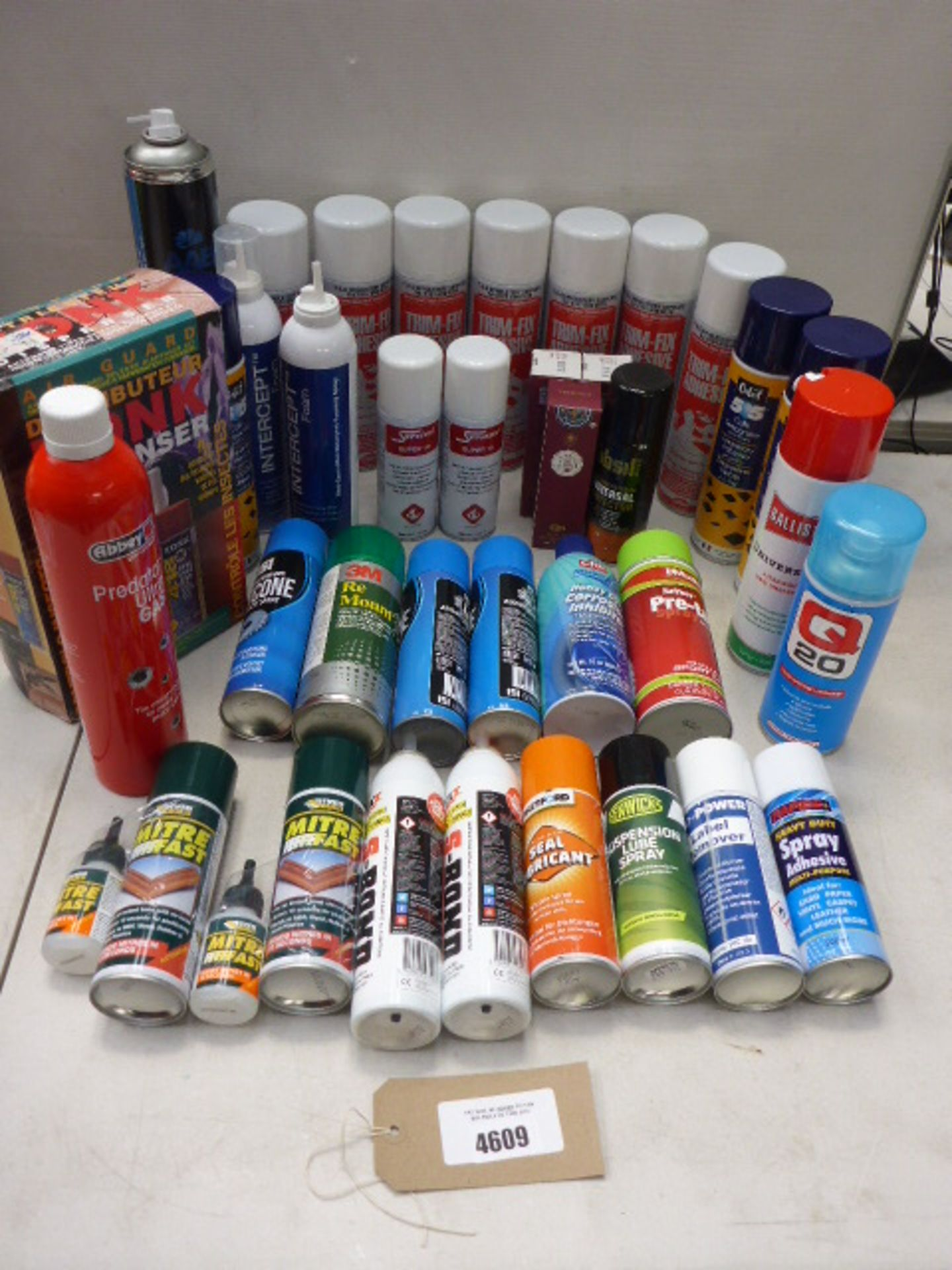 Lot 4609 - Bag containing spray mount, suspension lube spray, trim fix adhesive, mitre bond and other adhesives