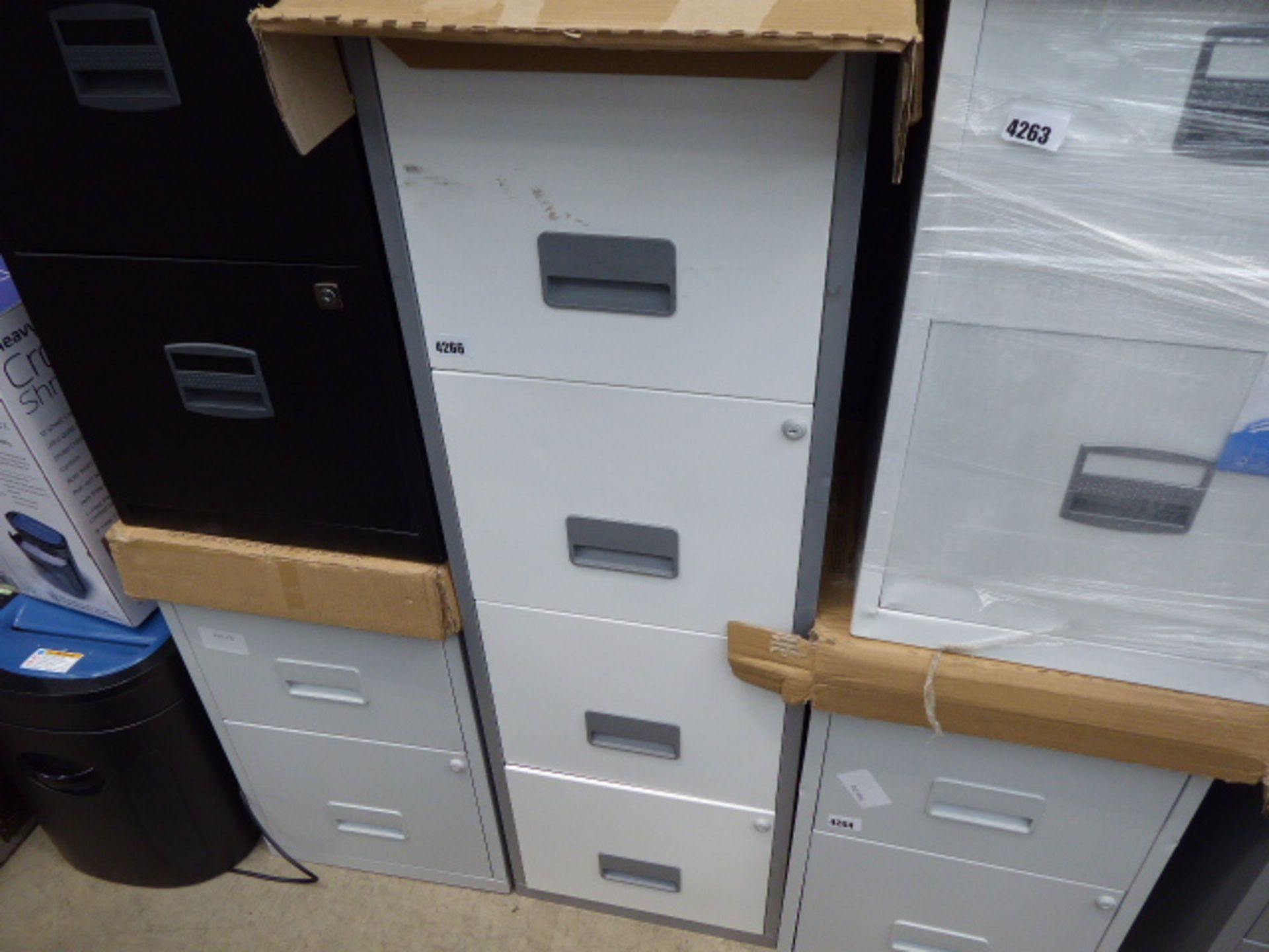 Lot 4266 - 4267 4 drawer white and grey metal filing cabinet