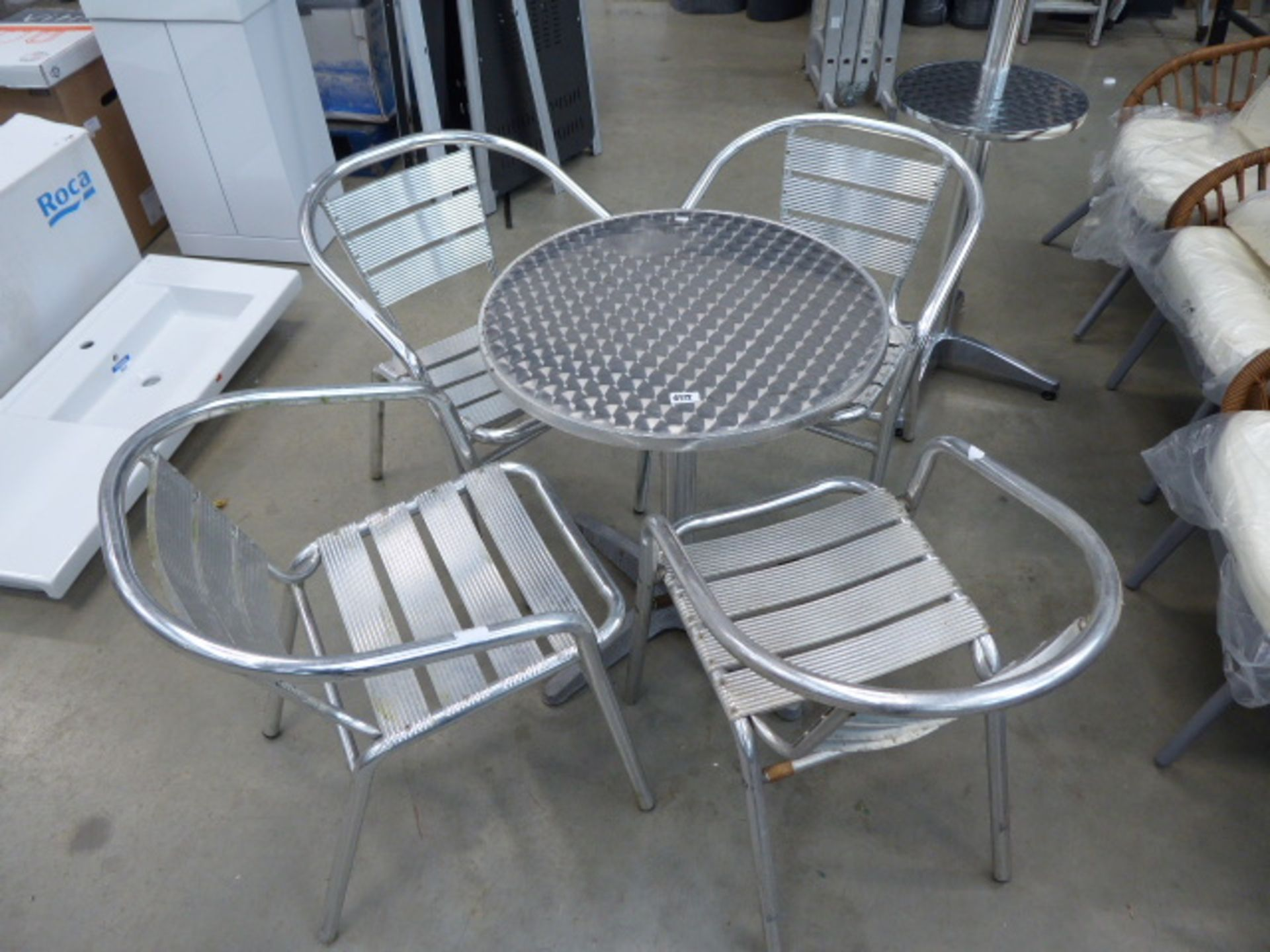 Lot 4172 - Small silver bistro table with 4 chairs