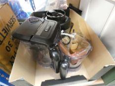 Box containing a Ninja blender with attachments plus another box containing a Bosch coffee dispenser