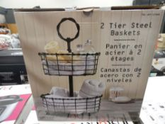 Boxed 2 tier steel basket stand