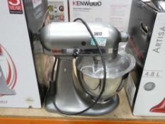 25 Unboxed kitchen aid silver mixer with 3 attachments