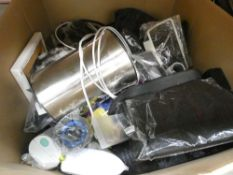 Large box of mixed miscellaneous - kettle, canvas picture, ice boards, etc