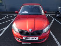 KM15 SVW (2015) Skoda Fabia S MPI, petrol, 5 door hatchback in red MOT: 4/19 (Expired)