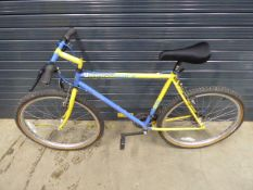 Ridgeback mountain bike in blue and yellow