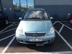 FG06 JSV (2006) Mercedes A Class, 1699cc petrol, 5 door hatchback in blue MOT: 20/10/20 (Expired)