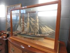 Model of the Cutty Sark in a glazed cabinet