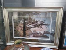 Large framed and glazed picture of a seashore scene