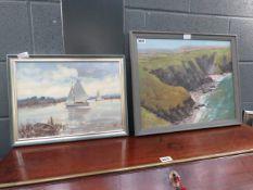 Pair of oil on board paintings of riverside and seaside scenes