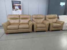 G Plan tan leather 3 piece suite of a 2 seater and 2 matching armchairs