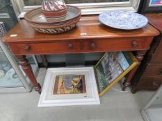 19th century mahogany writing table on tapered supports and 2 drawers