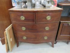 19th century bow fronted mahogany chest of drawers of 2 over 2