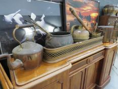 Large quantity of copperware to include kettles, pokers, teapots, vases, bedwarmers, copper pans and