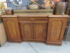 Large dark wood teak sideboard of 4 doors over single drawer