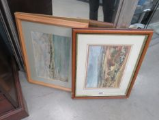 5034 - Framed and glazed picture of a countryside scene and a seaside scene