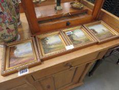 4 miniature framed paintings of golfing scenes