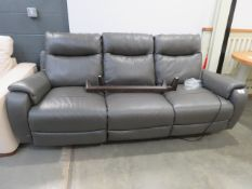 3 seater grey leather sofa (recliner)