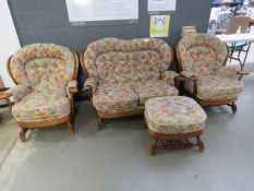 5206 - Cottage suite comprising of a 2 seater and 2 matching armchairs and a footstool with floral