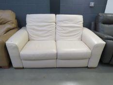 Single cream leather 2 seater sofa