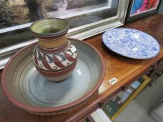3 assorted pieces of china to include a large blue and white plate and a washbowl and jug