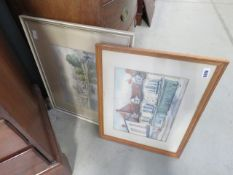 Pair of framed and glazed prints of streetside and riverside scenes