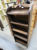 Oak 5 shelved narrow bookcase