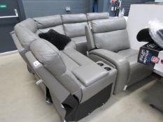 Large grey leather corner suite of 6 modular units