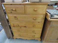 Pine 2 over 4 drawer chest of drawers