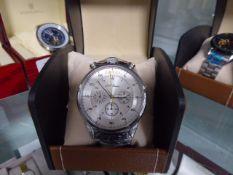 LA Banus 6000 Series chronograph wristwatch with brown leather strap