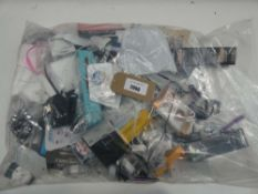 Bag containing quantity of mobile phone accessories; cables, adapters, selfie sticks, power banks,