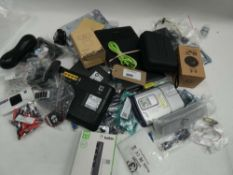 Bag containing various electrical accessories/parts; webcam, retro game kits, adapters, boards,