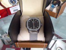 LA Banus metal strap black dial wristwatch with box