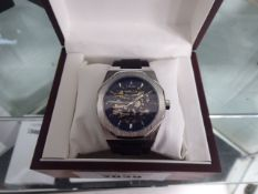 Edison gents rubberised strap wristwatch with open movement
