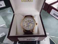 Edison gents Roman numeral dial wristwatch with open movement and brown leather strap