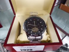 Stockwell gents automatic stainless steel wristwatch with black dial