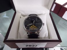 Edison automatic black leather strap phase dial wristwatch with box