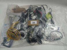 Bag containing quantity of various cables, leads and PSUs
