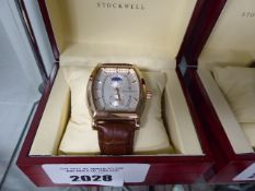 Stockwell moon face style gents wristwatch with brown leather strap and case