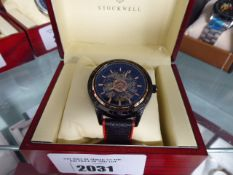Stockwell Sport automatic open dial wristwatch with black leather strap and box