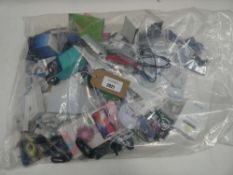 Bag containing quantity of mobile phone accessories; cables, adapters, etc
